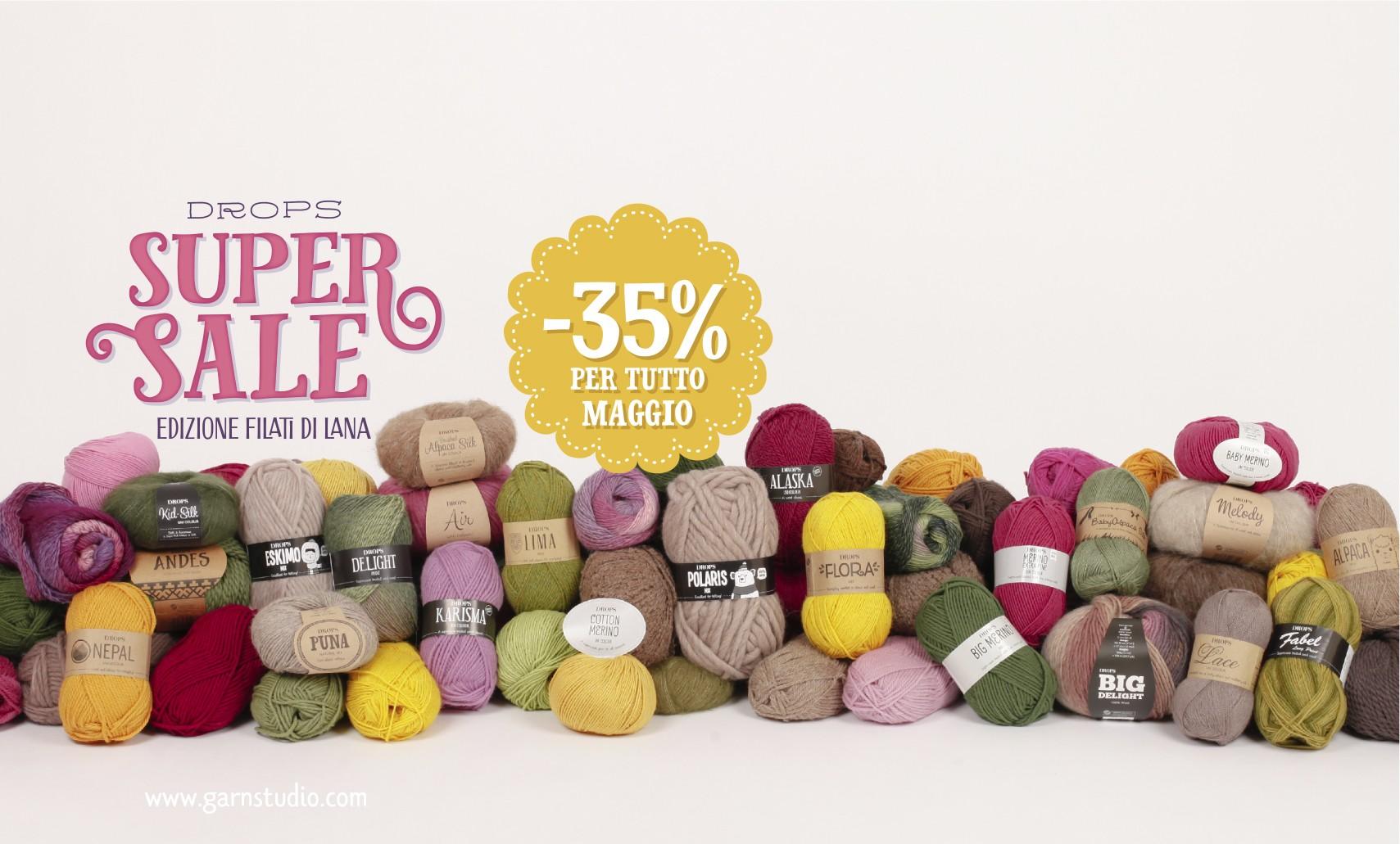 35% di sconto sui filati in lana
